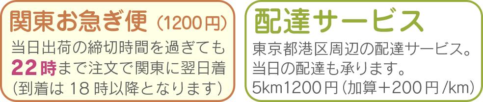 関東便 時間指定不可です 22時までのご注文で、関東地方に限り、翌日着にてお届けいたします。 配達サービス ショップ(東京都港区)周辺の当日便の配達を+1000円(5km以内)にて承ります