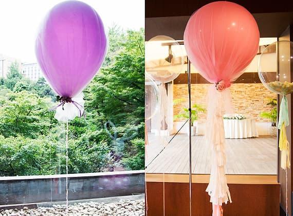 結婚式や二次会、パーティー、誕生日、イベントで装飾するチュールバルーン